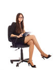 Businesswoman with advisor on office chair Royalty Free Stock Images