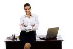 Businesswoman against office desk royalty free stock images