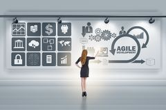 The businesswoman in agile software development concept Stock Photos