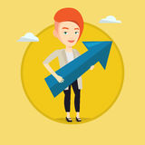 Businesswoman aiming at business growth. Royalty Free Stock Photo