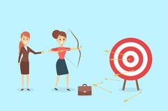 Businesswoman aiming in target. Businesswoman aiming in target and shooting with arrow Stock Photography