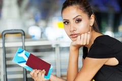 Businesswoman air ticket Stock Photo