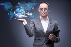 The businesswoman in air travel concept Stock Images