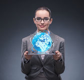 The businesswoman in air travel concept Stock Photography