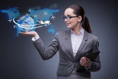The businesswoman in air travel concept Royalty Free Stock Photo