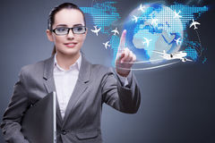 The businesswoman in air travel concept Royalty Free Stock Photos