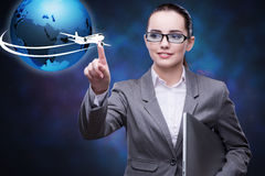 The businesswoman in air travel concept Royalty Free Stock Photography