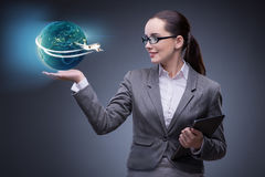 The businesswoman in air travel concept Stock Image