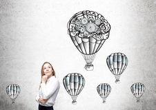 Businesswoman airballoons gears Royalty Free Stock Images