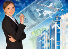 Businesswoman with airplane, skyscrapers and money Stock Photo