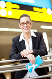 Businesswoman at airport Stock Photo