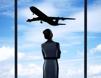 Businesswoman in airport Stock Photo