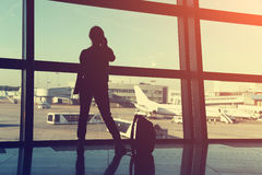 Businesswoman at the airport Royalty Free Stock Photos