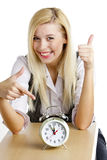 Businesswoman with an alarm clock Stock Images