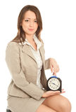 Businesswoman with alarm clock Royalty Free Stock Photo