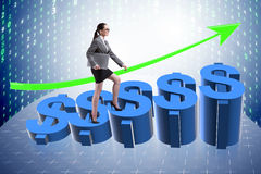 The businesswoman in american dollar concept Stock Image
