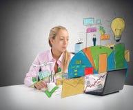 Businesswoman analyzes Stock Photography