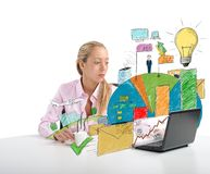 Businesswoman analyzes Stock Photo