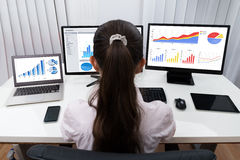 Businesswoman Analyzing Graphs On Computers Stock Photo