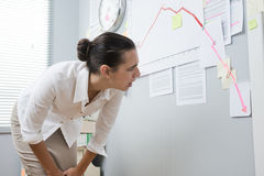 Businesswoman analyzing negative business chart. Stunned businesswoman checking a financial business chart on office wall with arrow going down Stock Photo