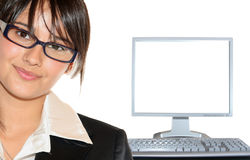 Businesswoman And Lcd Monitor Stock Photos