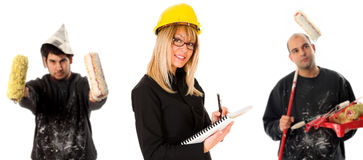 Businesswoman And Two House Painter Stock Photo