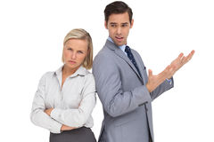 Businesswoman angry against her colleague arguing Royalty Free Stock Photo