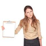 Businesswoman - angry clipboard presentation Royalty Free Stock Photo