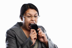 Businesswoman angry expression using video call Stock Images