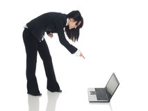 Businesswoman - angry laptop Royalty Free Stock Images