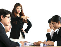 Businesswoman angry working Royalty Free Stock Photo