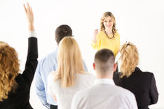 Businesswoman answering the questions Royalty Free Stock Photography