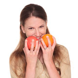 Businesswoman - apple and orange choice Royalty Free Stock Photo
