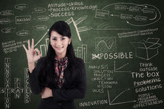 Businesswoman approval gesture in class Stock Photography