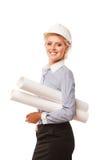 Businesswoman architect holding blueprints Stock Image