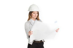 businesswoman architect holding blueprints isolated on white background Royalty Free Stock Photo