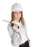 businesswoman architect  on white background Royalty Free Stock Photo
