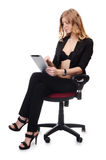 Businesswoman in an armchair on white background Royalty Free Stock Photos