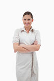 Businesswoman with the arms crossed Stock Photography