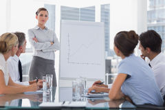 Businesswoman with arms folded in front of a growing chart Stock Image