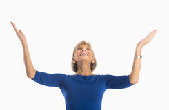 Businesswoman With Arms Raised Looking At Copy Space Stock Photos