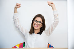 Businesswoman with arms raised up Royalty Free Stock Photography