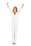 Businesswoman with arms up Royalty Free Stock Image