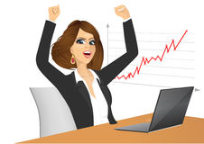 Businesswoman with arms up stock illustration