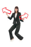 Businesswoman with arrows Royalty Free Stock Photography
