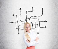 Businesswoman and arrows on wall Royalty Free Stock Image