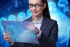 The businesswoman in artificial intelligence concept Royalty Free Stock Photo