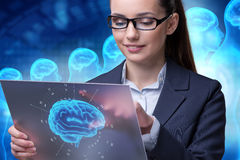The businesswoman in artificial intelligence concept. Businesswoman in artificial intelligence concept stock photos