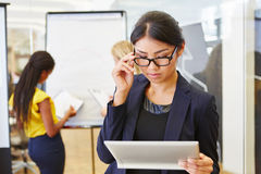 Businesswoman as manager controlling plan Stock Images