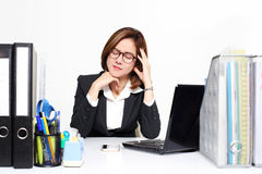 The businesswoman Asian serious and busy with trouble her working Royalty Free Stock Photos
